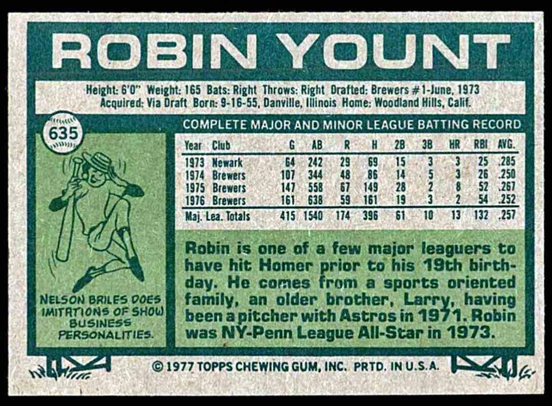 Verzamelkaarten, ruilkaarten Verzamelkaarten: sport 1977 Topps #635 Robin Yount Milwaukee Brewers Baseball Card