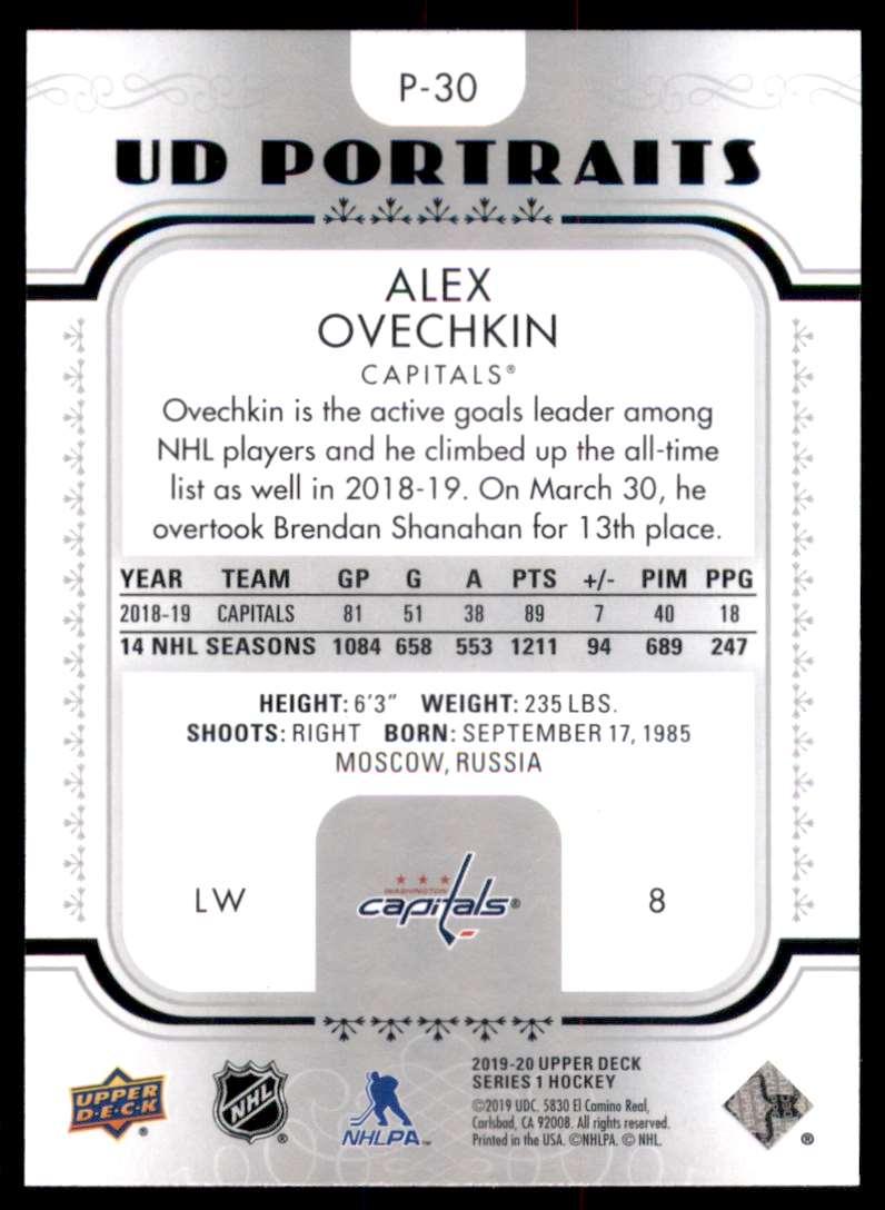 2019-20 Upper Deck UD Portraits Alexander Ovechkin #P30 card back image