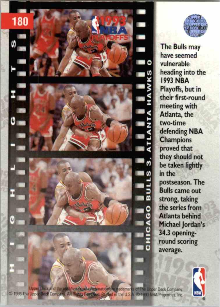 1993-94 Upper Deck UD Choice First Round: Bulls 3, Hawks 0 #180 card back image