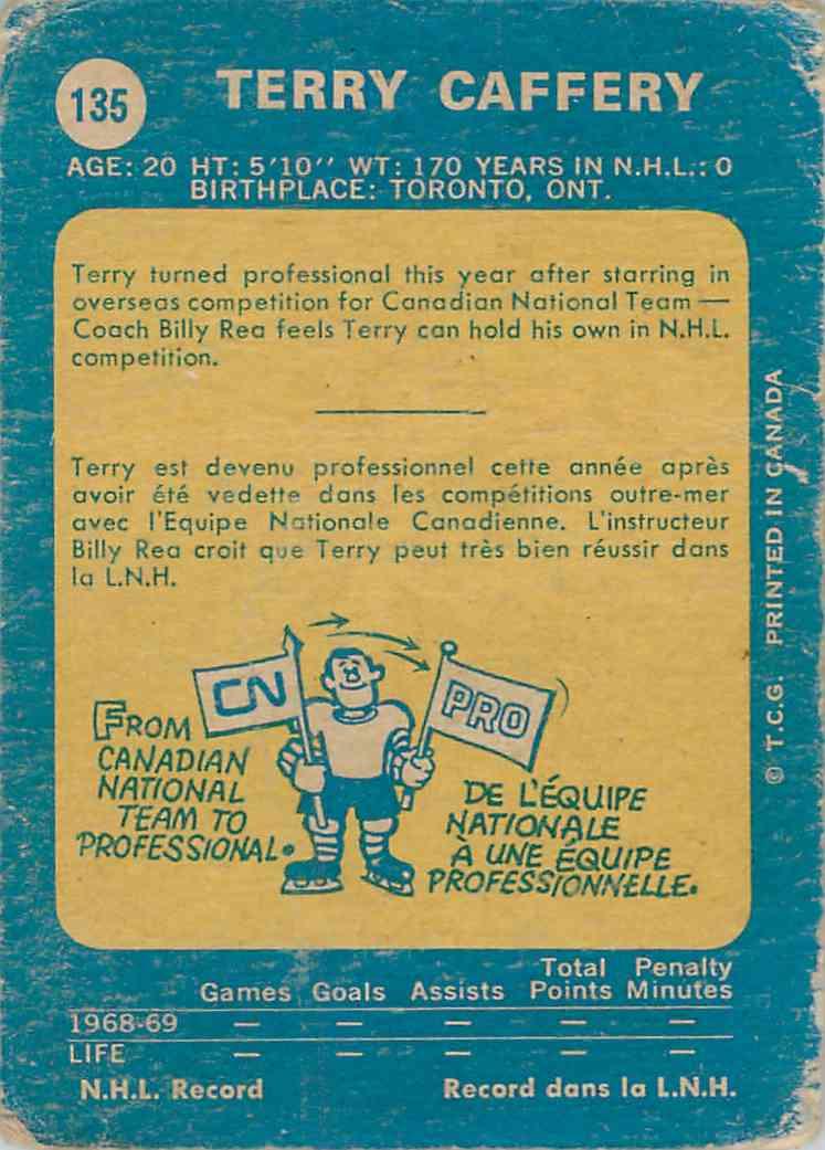 1969-70 O-Pee-Chee Terry Caffery #135 card back image