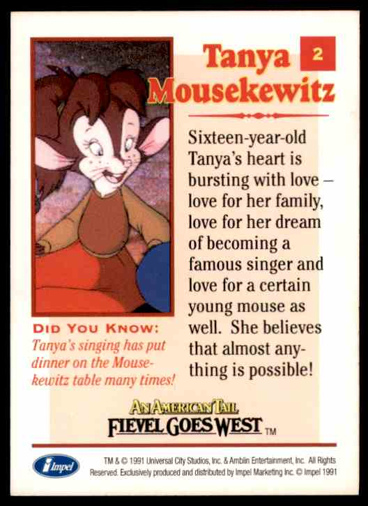 1991 An American Tail Tanya Mousekewitz #2 card back image