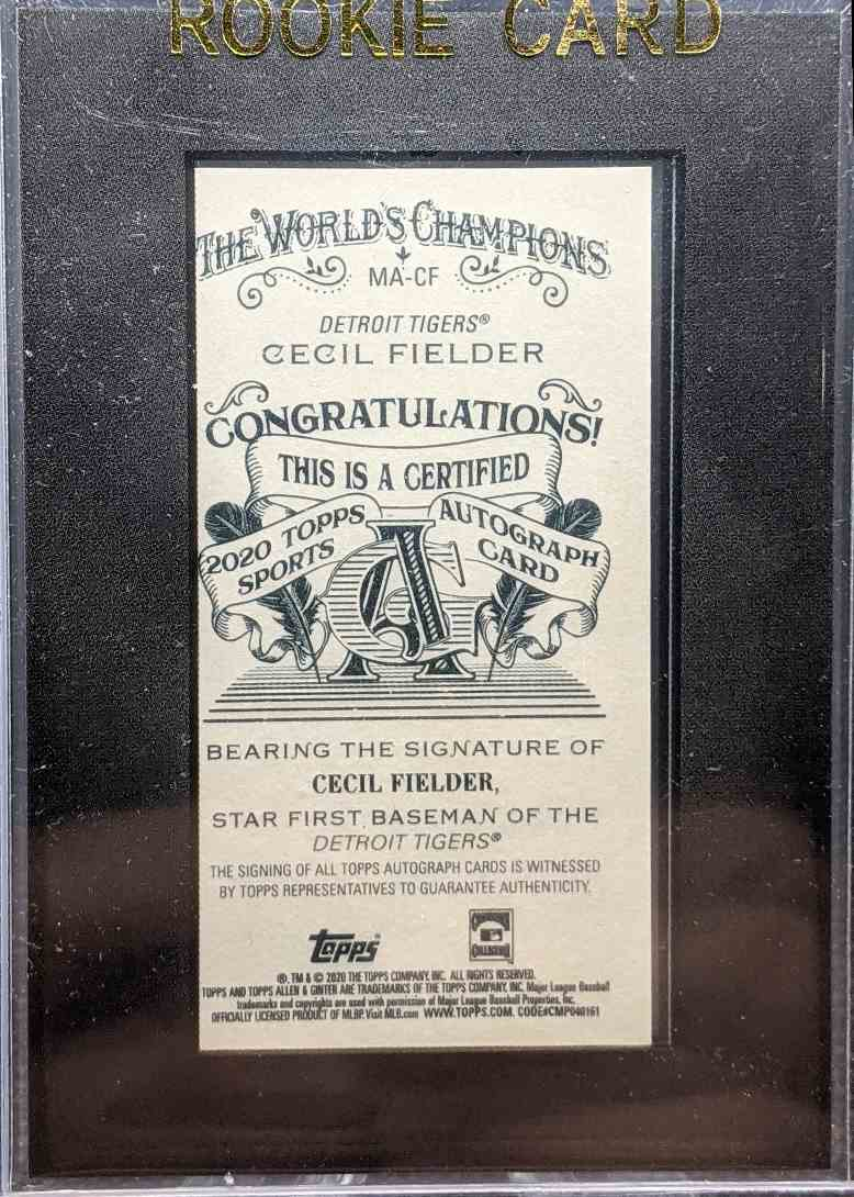 2020 Topps Allen & Ginter Cecil Fielder #MA-CF card back image