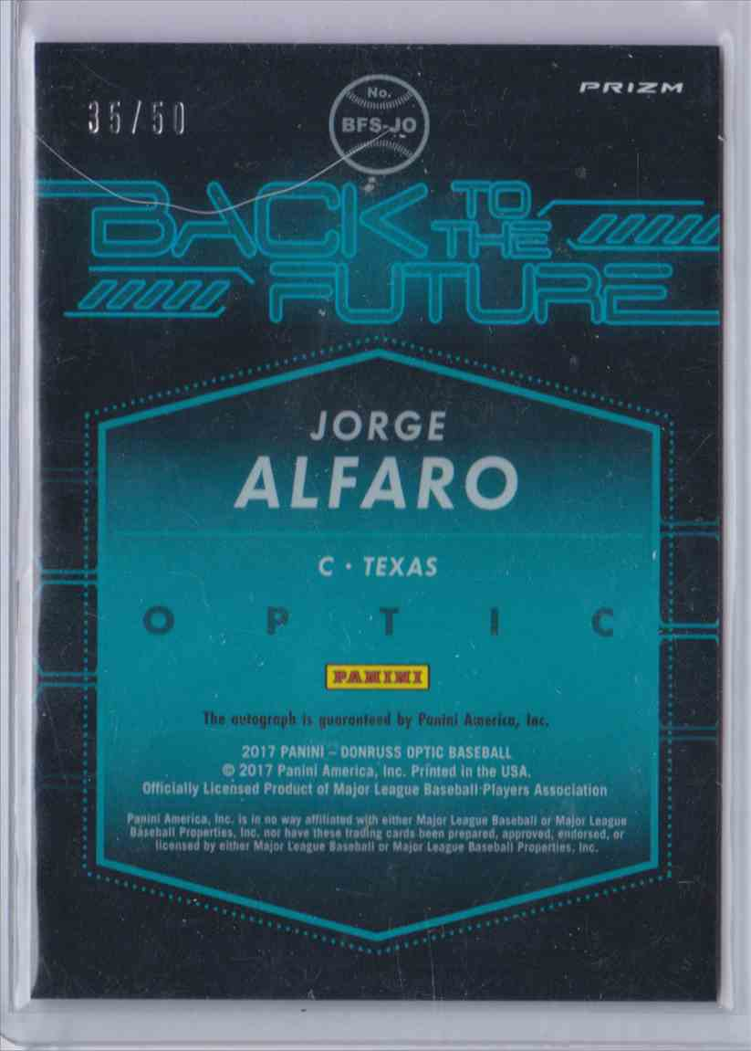 2017 Donruss Optic Back To The Future Jorge Alfaro #BFS card back image