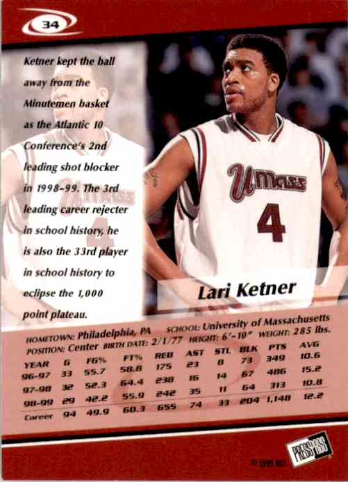 1999-00 Press Pass Lari Ketner #34 card back image