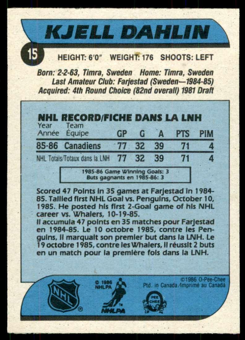 1986-87 OPC Kjell Dahlin #15 card back image