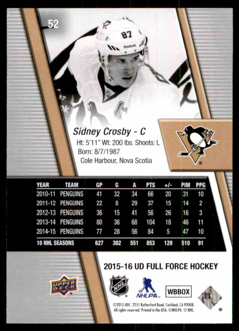 2015-16 Upper Deck Full Force Sidney Crosby #52 card back image