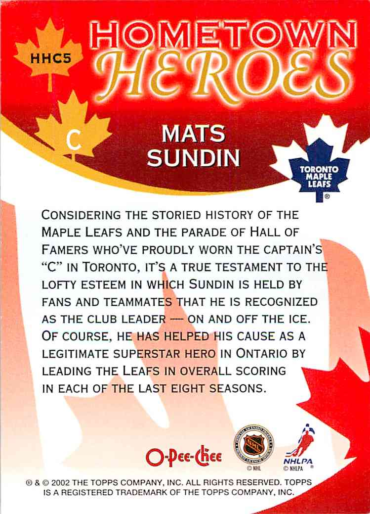 2002-03 O-Pee-Chee Hometown Heroes Mats Sundin #HHC5 card back image