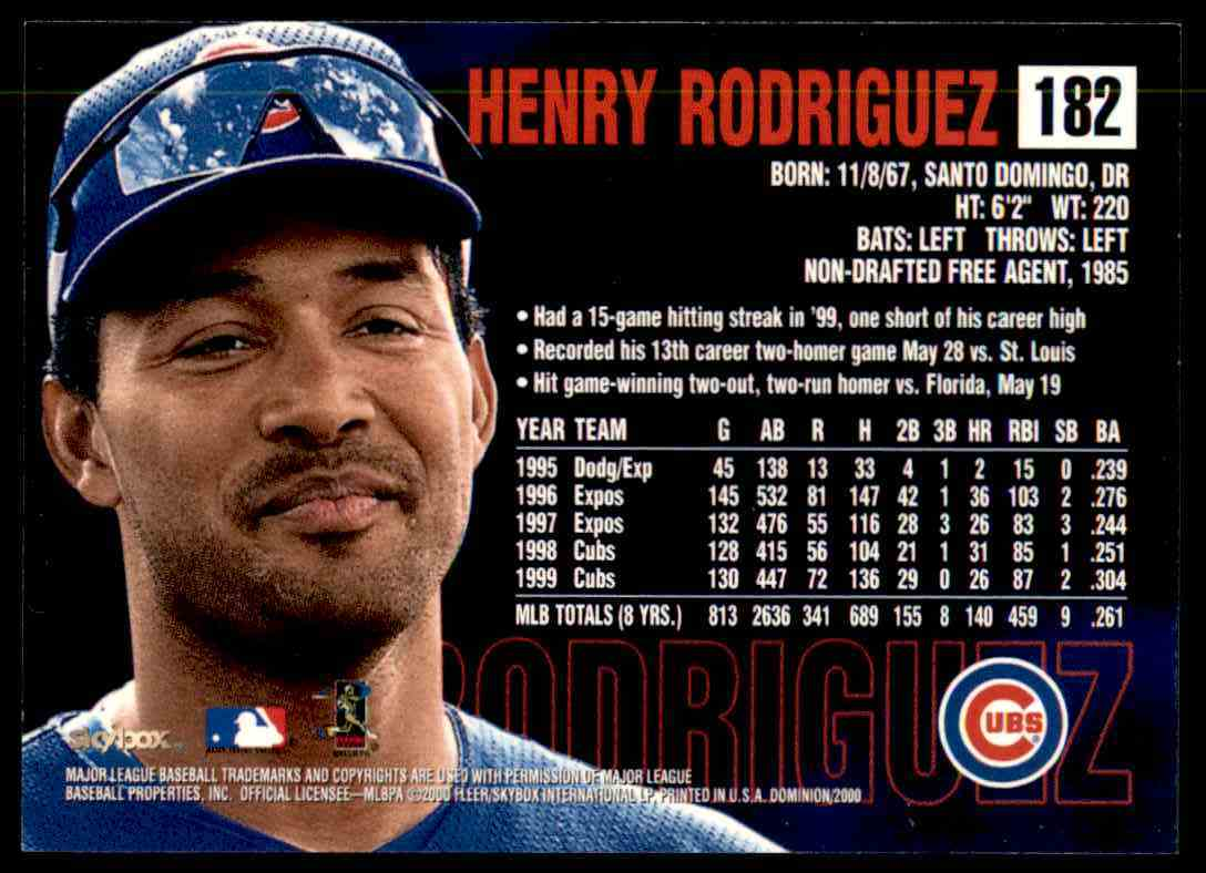 2000 SkyBox Dominion Henry Rodriguez #182 card back image