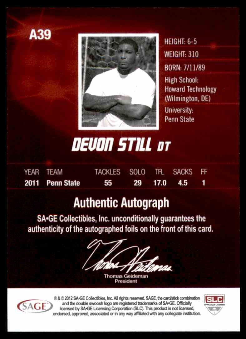 2012 Sage Hit Autographs Silver Devon Still #A39 card back image