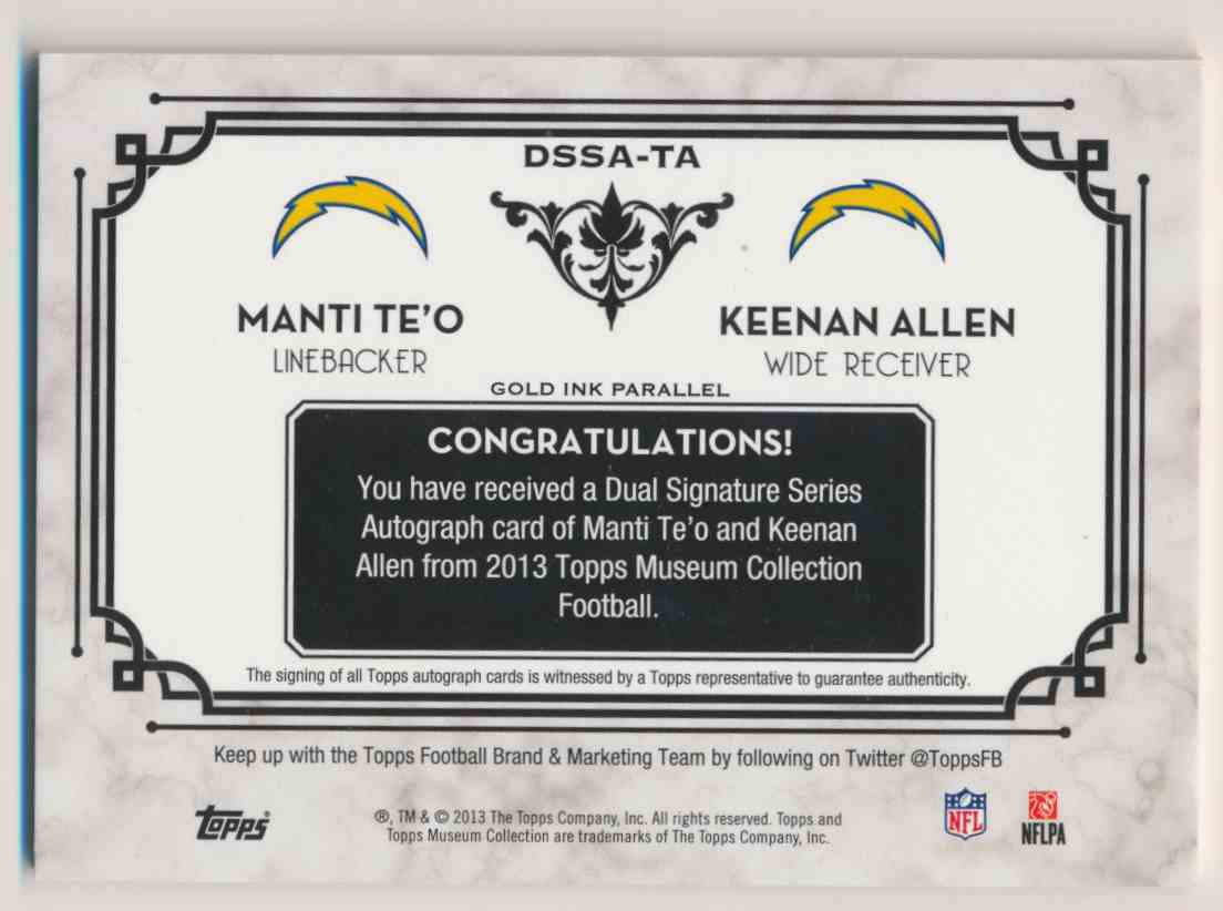 2013 Topps Museum Collection Gold Ink Manti Te'o Keenan Allen card back image