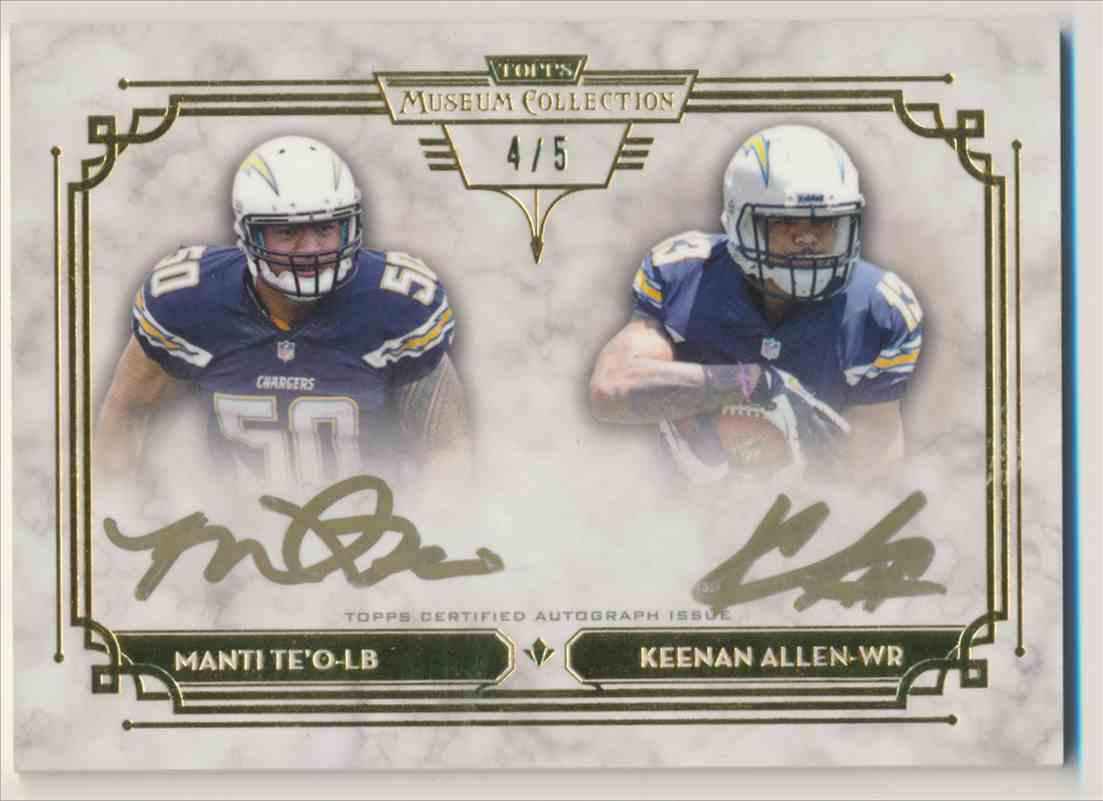 2013 Topps Museum Collection Gold Ink Manti Te'o Keenan Allen card front image