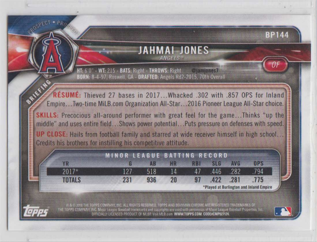2018 Bowman Prospects Jahmal Jones #BP144 card back image