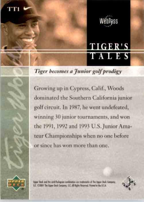 2001 Upper Deck Tiger's Tales Tiger Woods #TT1 card back image