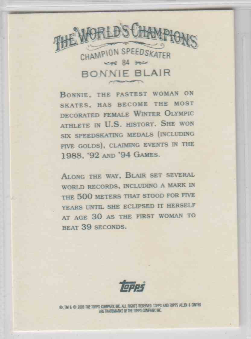 2008 Topps Allen And Ginter Bonnie Blair #84 card back image