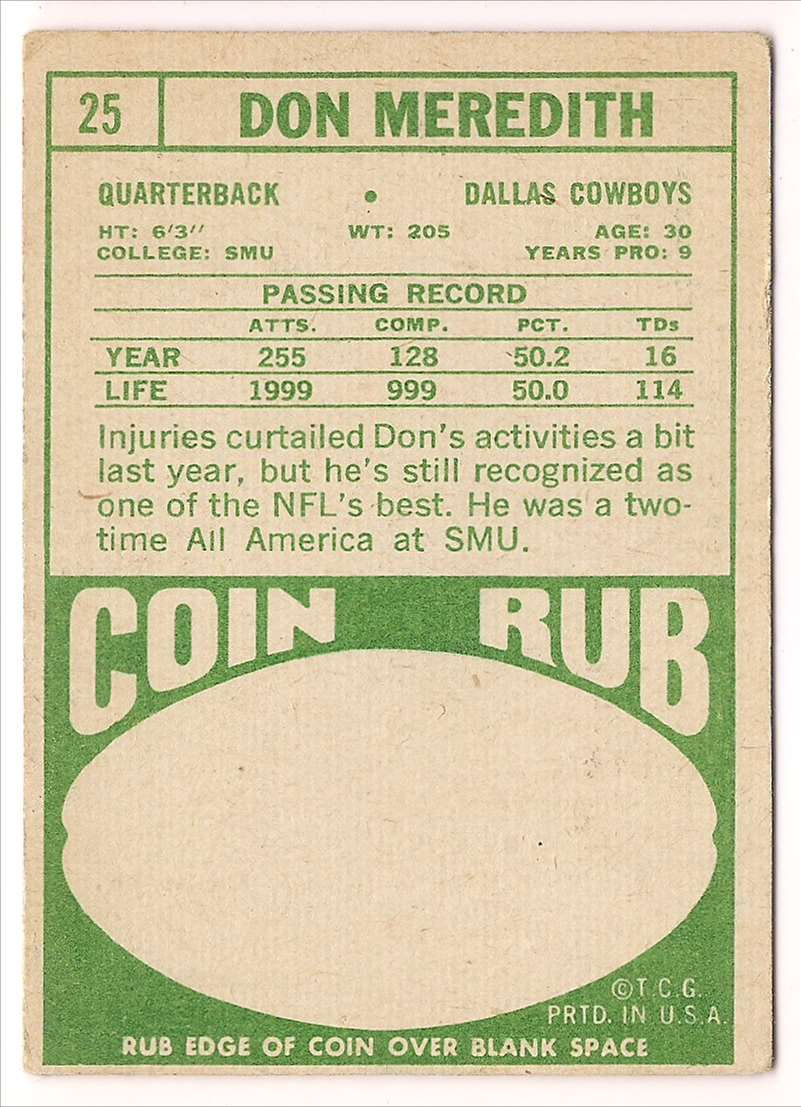 1968 Topps Don Meredith #25 card back image