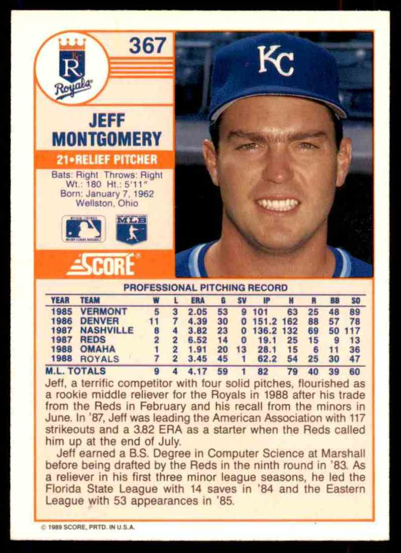 1989 Score Regular Jeff Montgomery #367 card back image