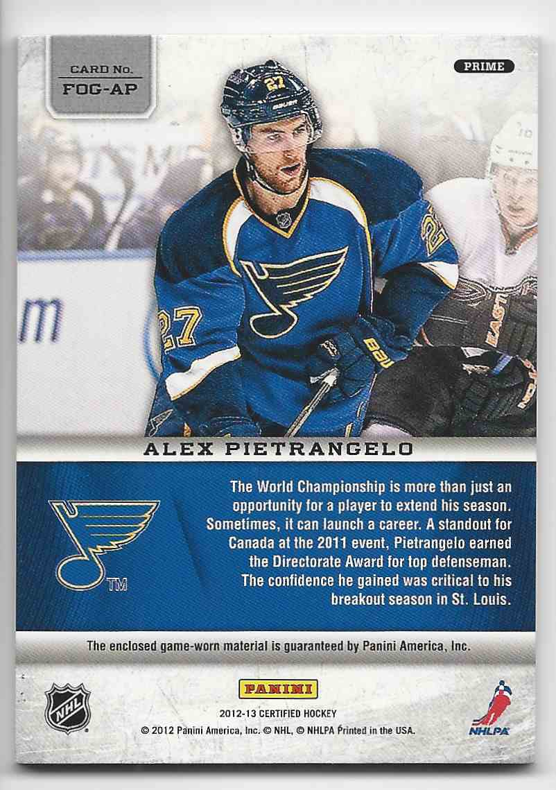 2012-13 Certified Fabric Of The Game Mirror Gold Prime Alex Pietrangelo #FOG-AP card back image
