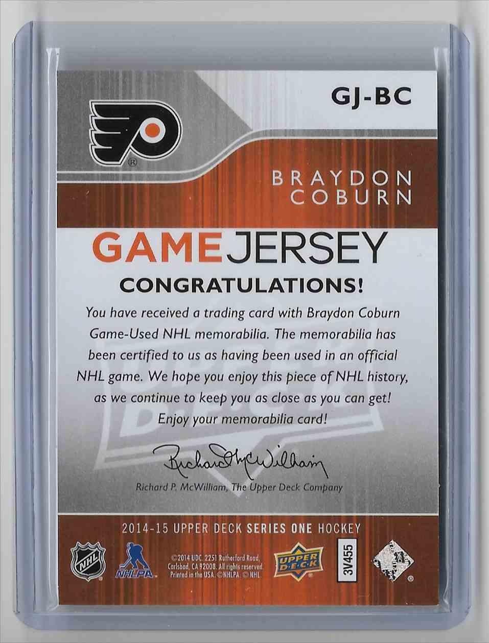 2014-15 Upper Deck Braydon Coburn #GJ-BC card back image