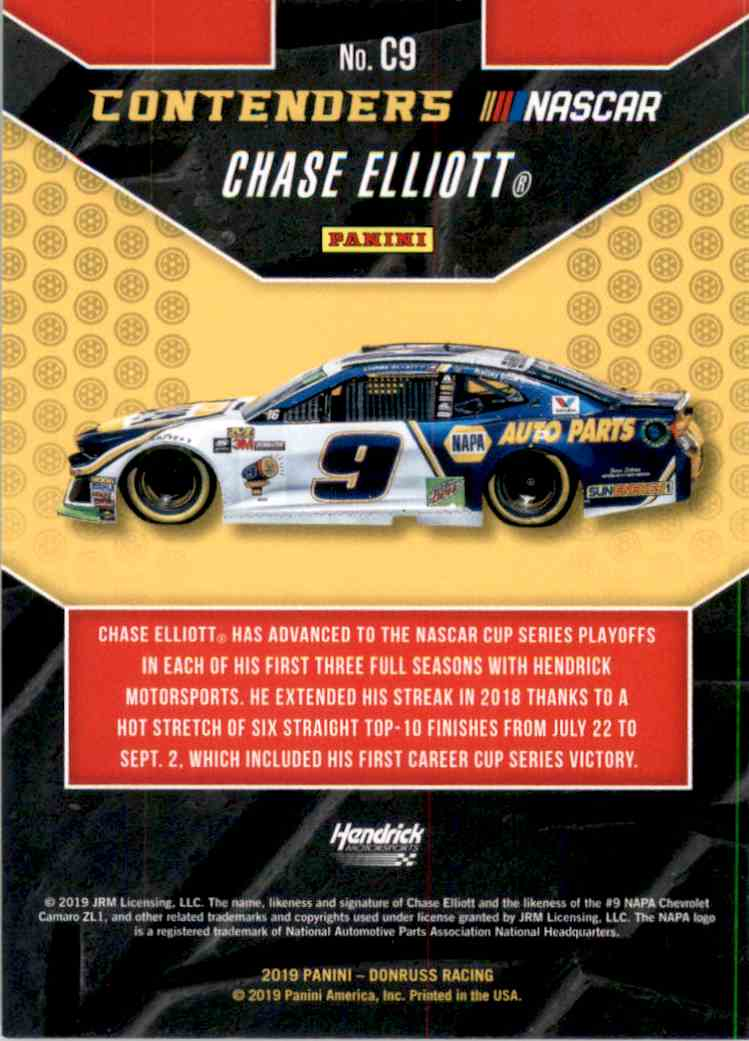 2019 Donruss Contenders Chase Elliott #C9 card back image