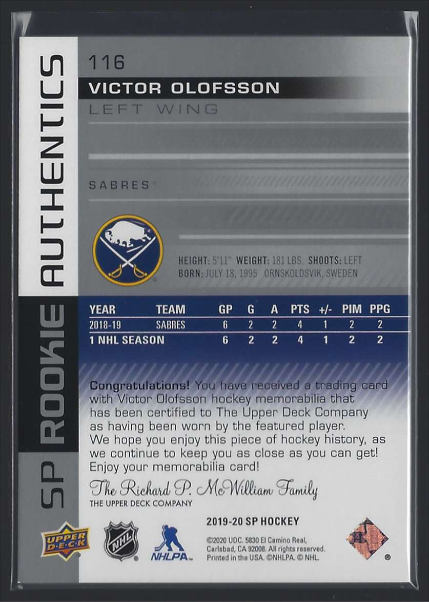 2019-20 SP Jerseys Victor Olofsson #116 card back image
