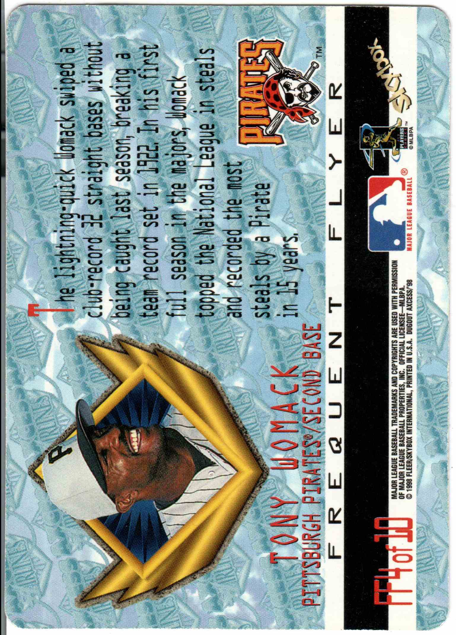 1998 Fleer Tony Womack #4 card back image