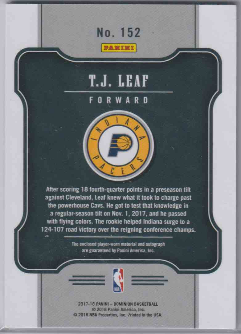 2017-18 Panini Dominion Rookie Jersey Autographs T.J. Leaf #152 card back image
