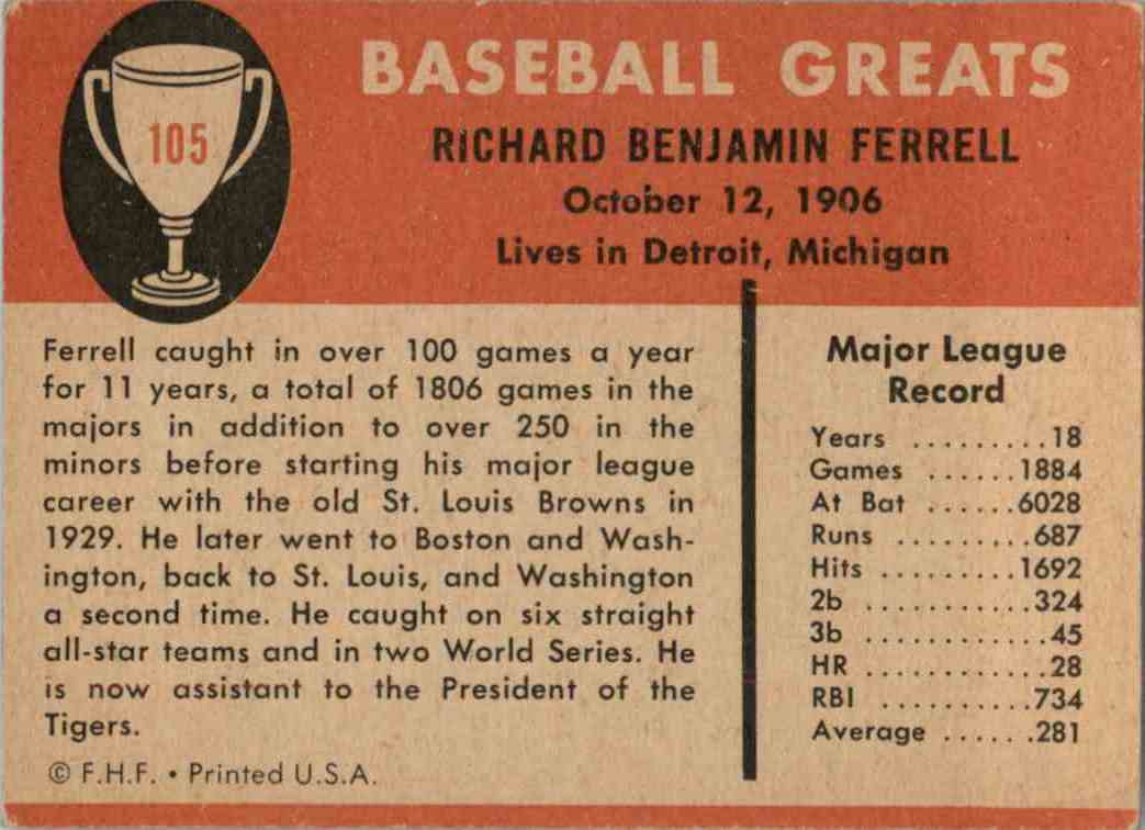 1961 Fleer Rick Ferrell #105 card back image