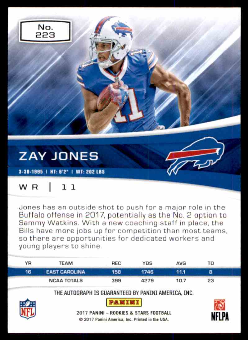 2017 Panini Rookies & Stars Zay Jones card back image
