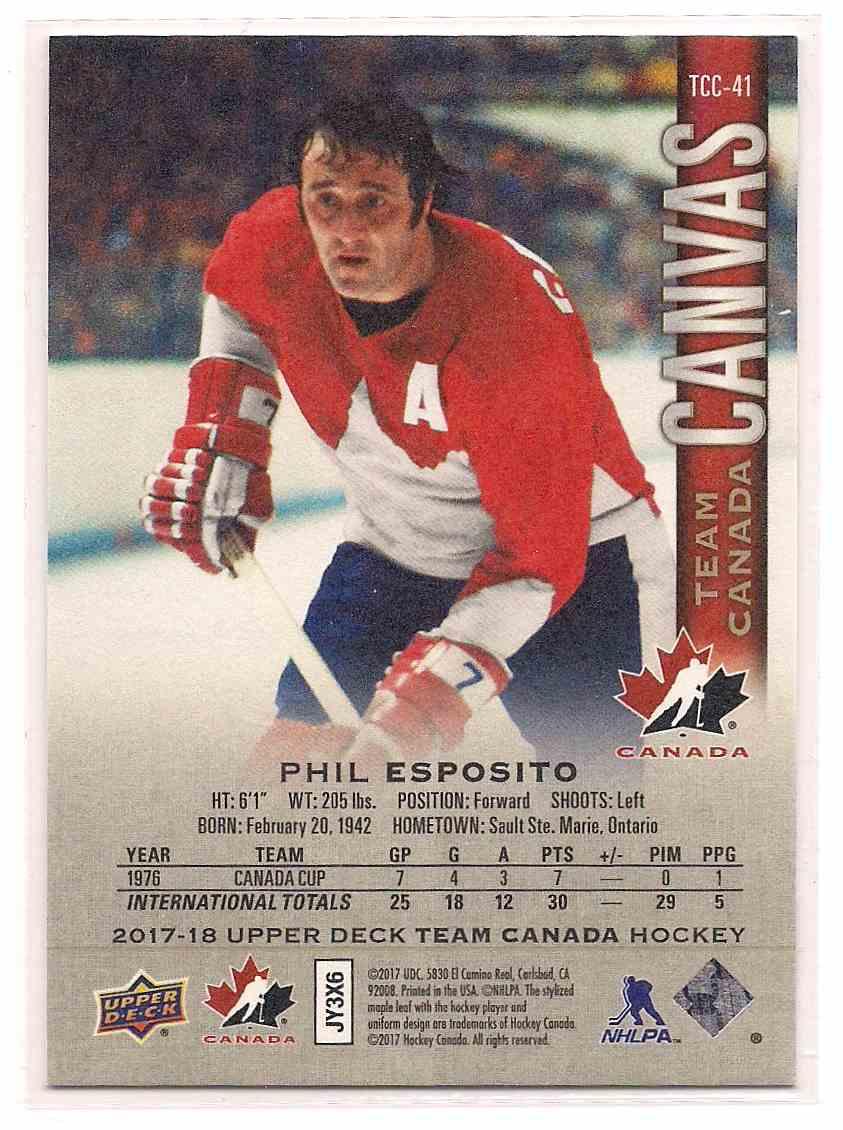 2017-18 Upper Deck Team Canada Canvas Phil Esposito #TCC-41 card back image