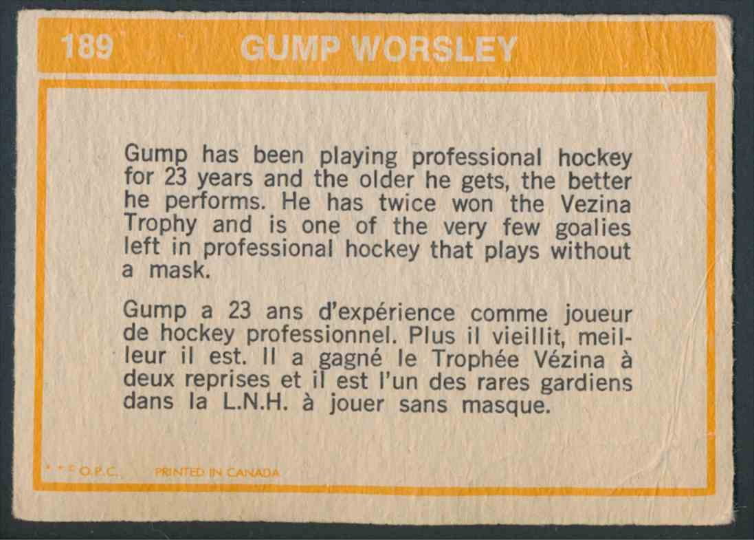 1972-73 O-Pee-Chee Gump Worsley #189 card back image