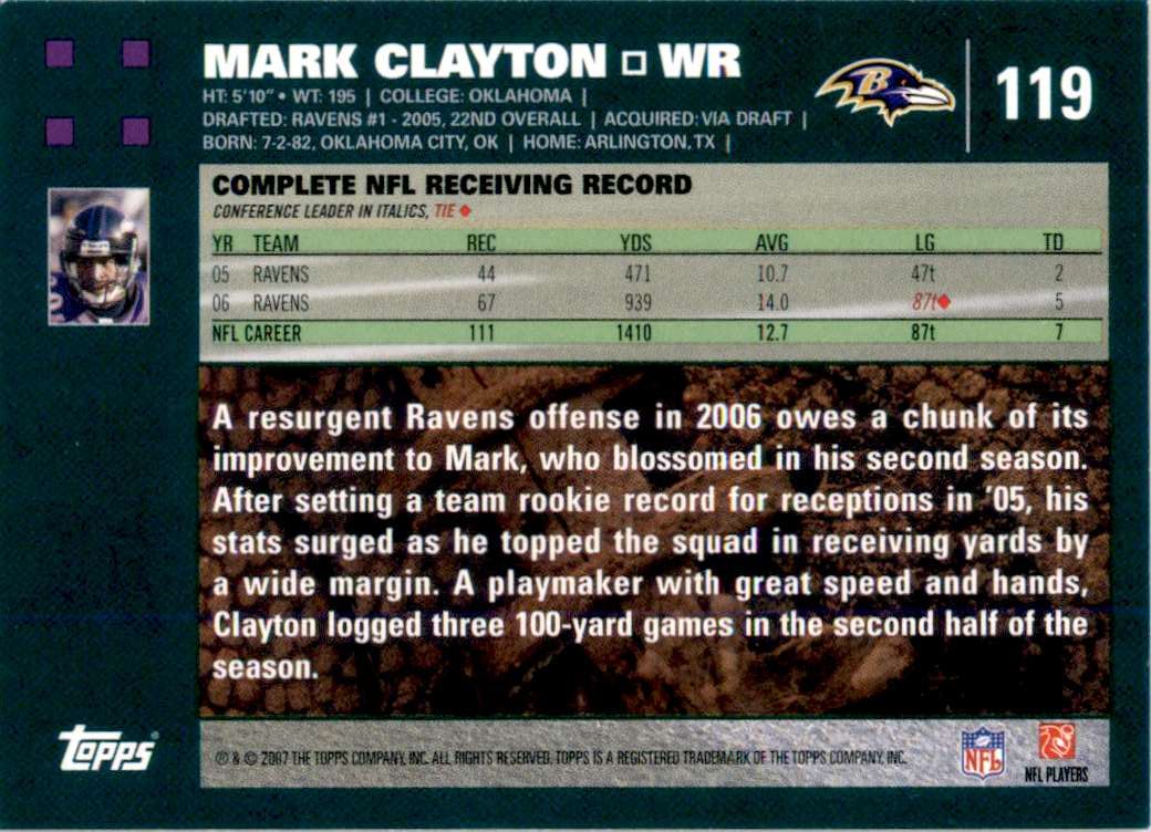 2007 Topps Mark Clayton #119 card back image