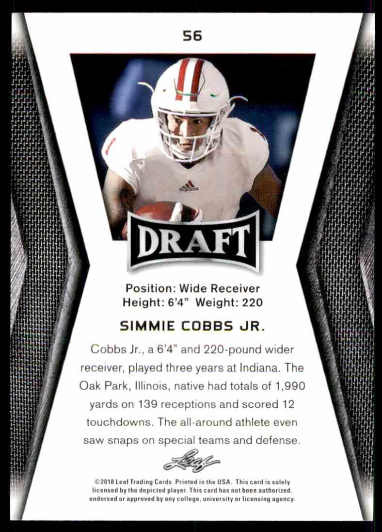 2018 Leaf Draft Simmie Cobbs JR. #56 card back image