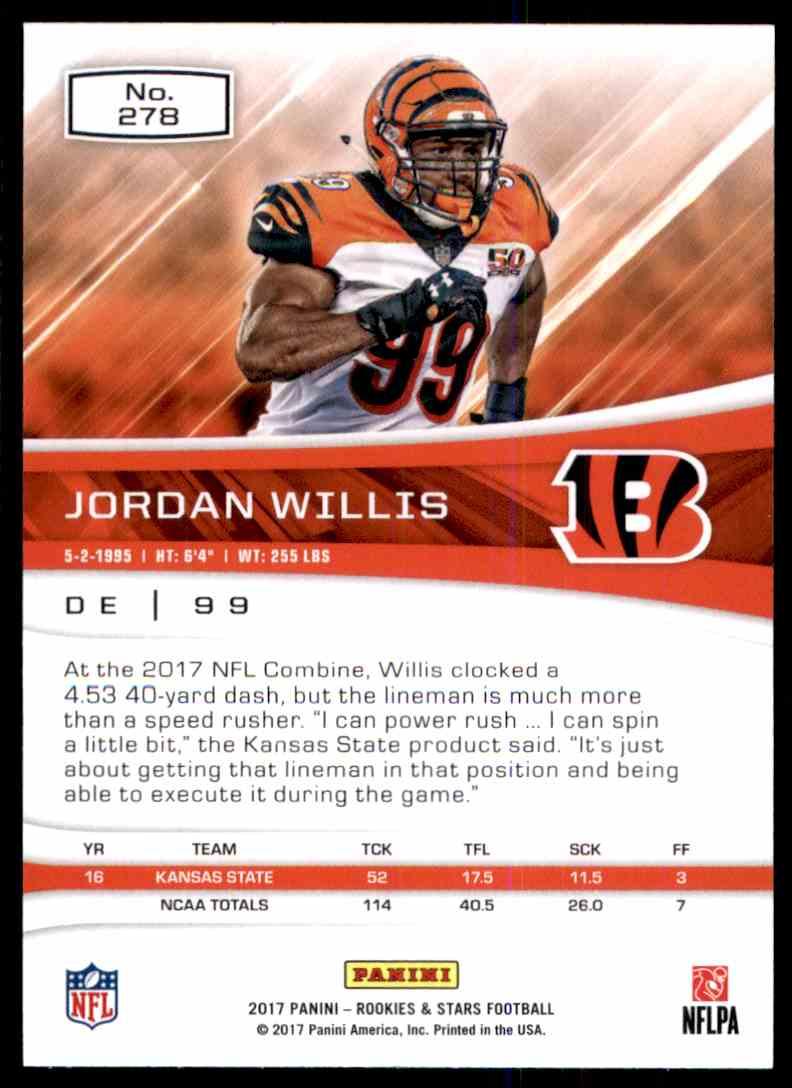 2017 Rookies And Stars Jordan Willis #278 card back image