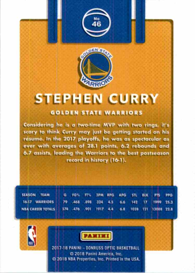 2017-18 Donruss Optic Stephen Curry #46 card back image