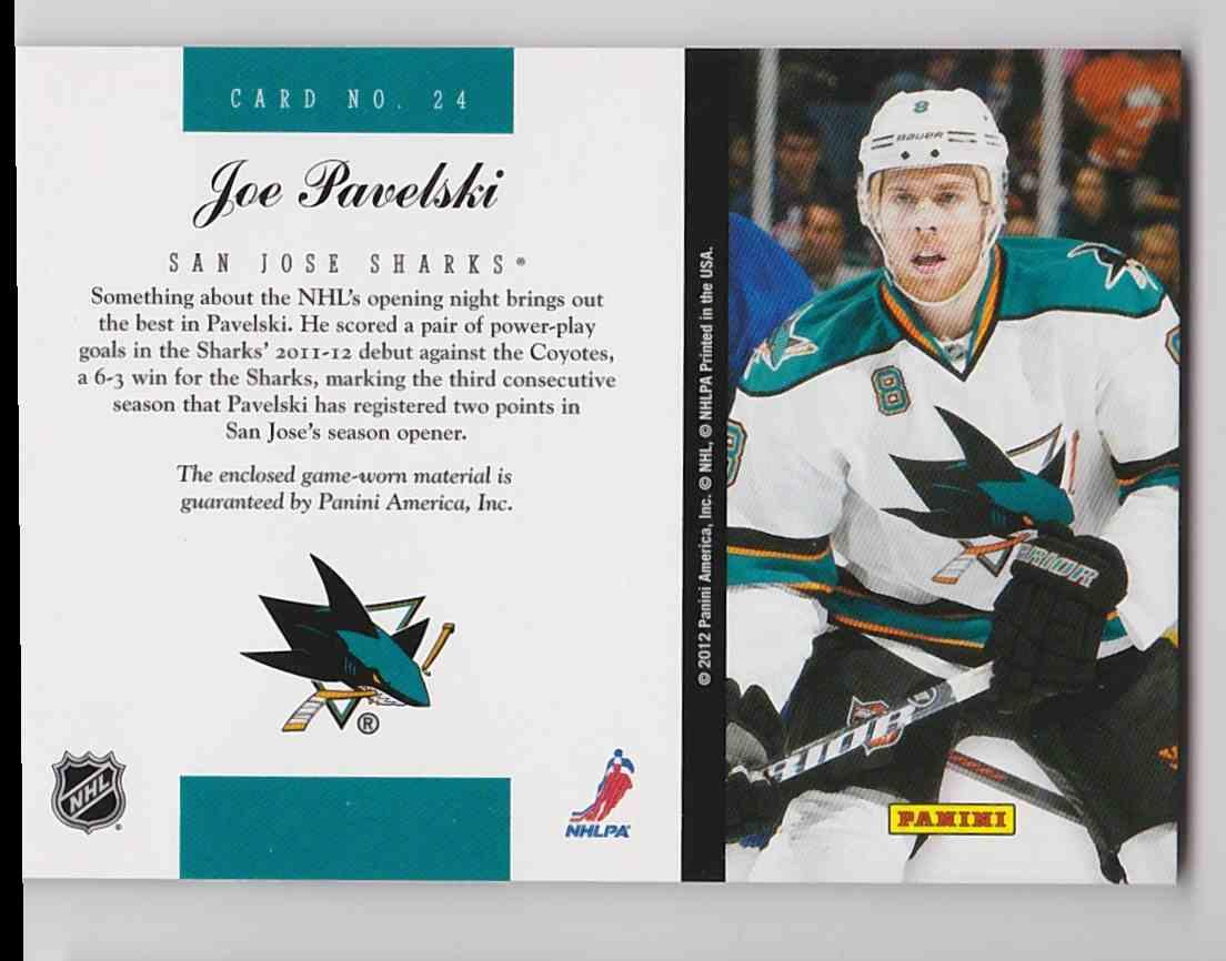 2011-12 Elite Materials Joe Pavelski #24 card back image