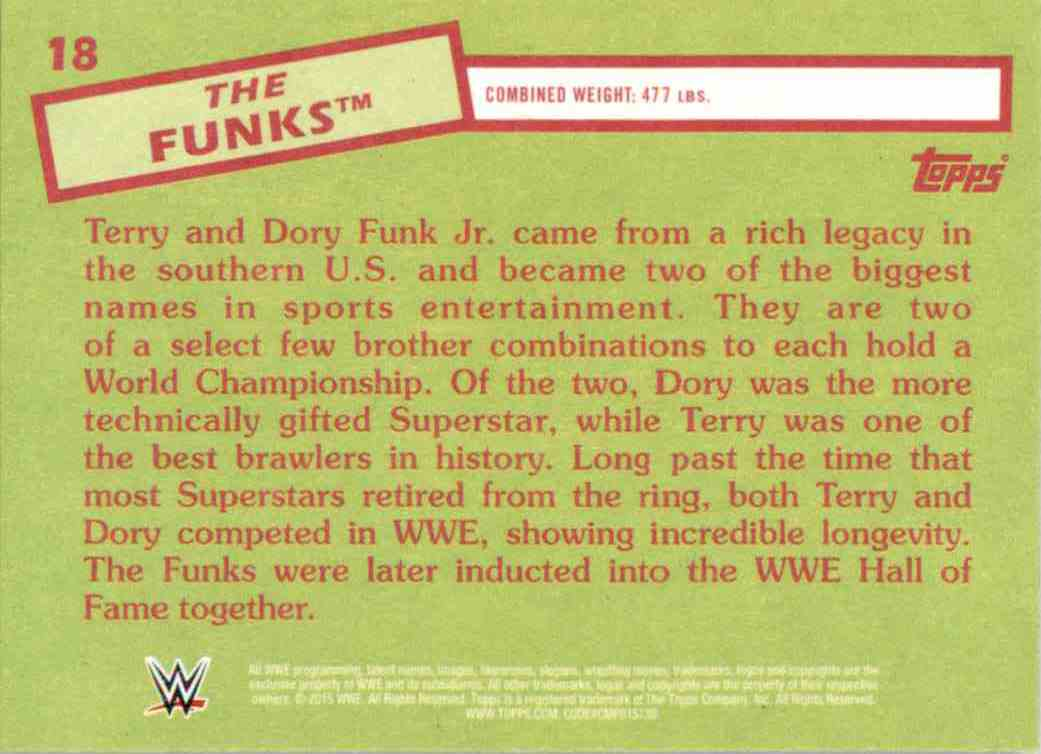 2015 Topps Heritage Wwe The Funks #18 card back image