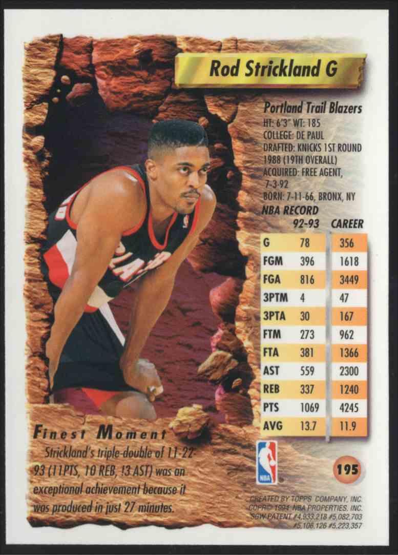 1993-94 Finest Refractors Rod Strickland #195 card back image