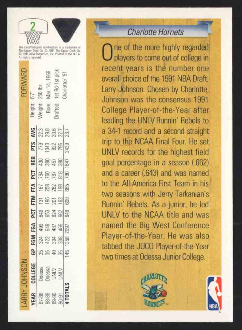 1991-92 Upper Deck Larry Johnson Uer #2 card back image