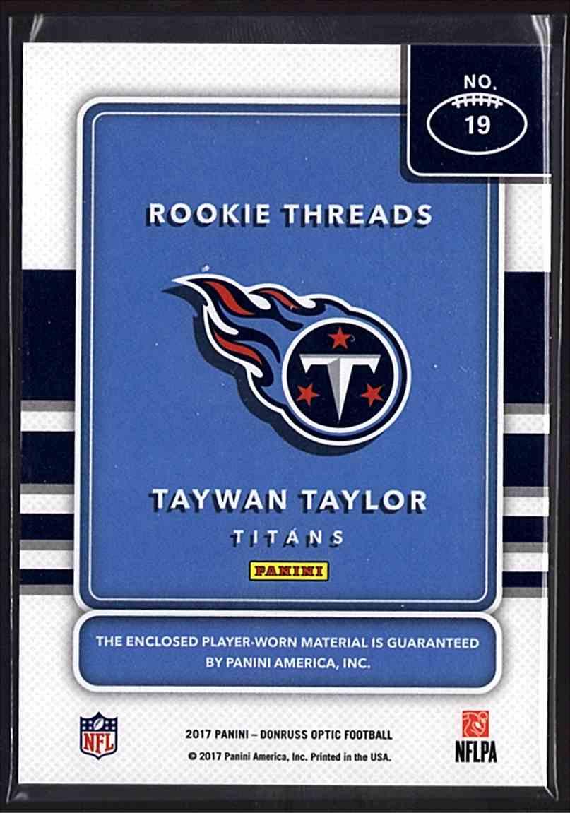 2017 Donruss Optic Rookie Threads Taywan Taylor #19 card back image