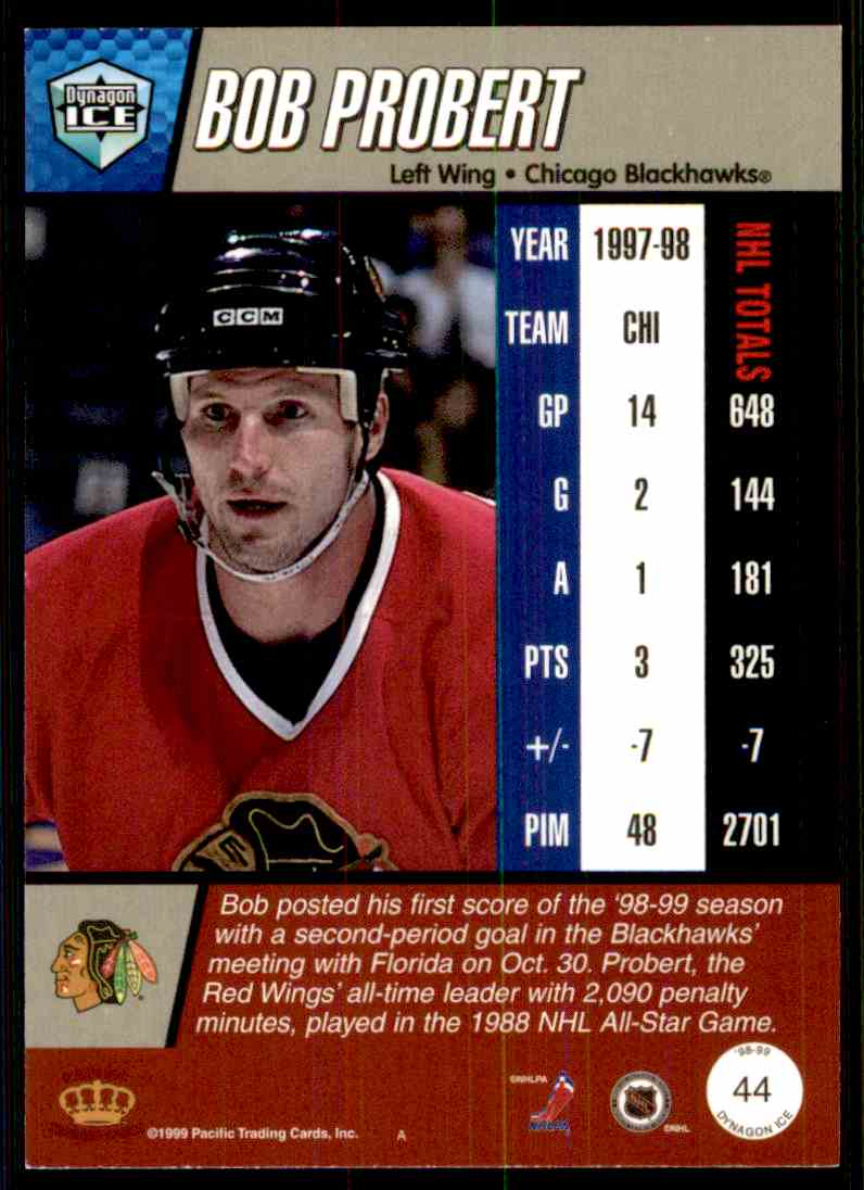 Real card back image 1998-99 Pacific Dynagon Ice Bob Probert  44 card back  image 610c555fc