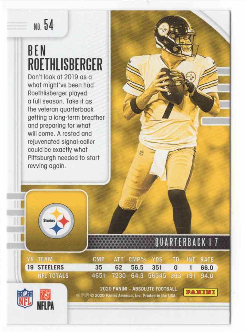 2020 Absolute Orange Mosaic Ben Roethlisberger #54 card back image