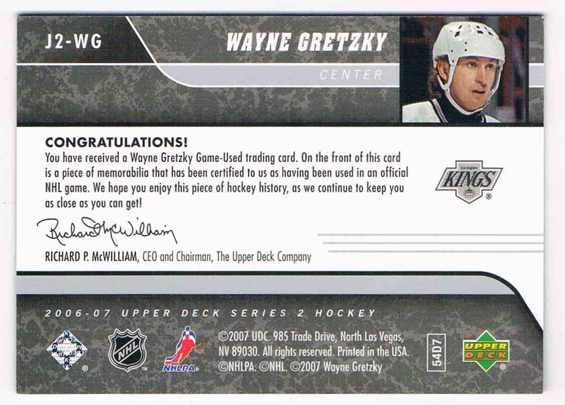 2006-07 Upper Deck Game Jerseys SP Wayne Gretzky #J2-WG card back image