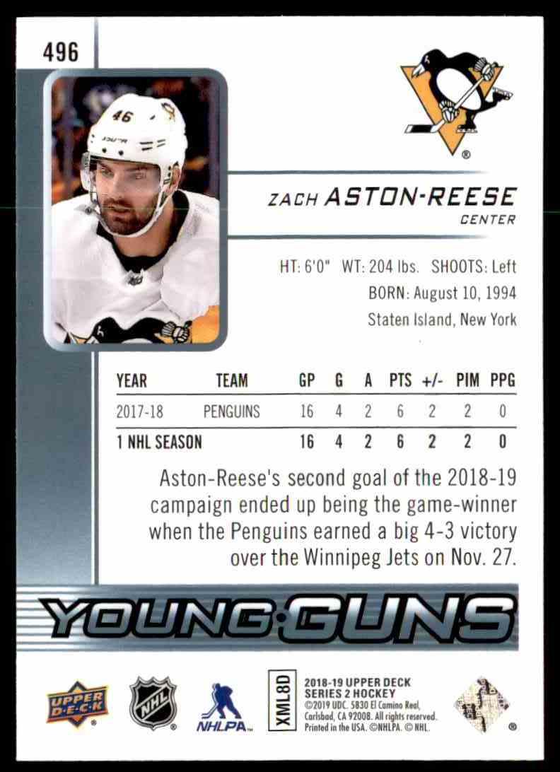 2018-19 Upper Deck Zach Aston-Reese Young Guns #496 card back image