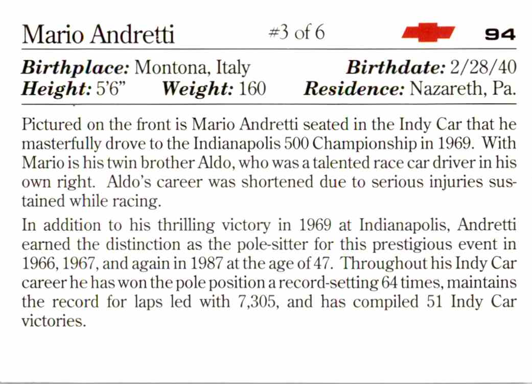 1991 Vette Set Mario Andretti #94 card back image