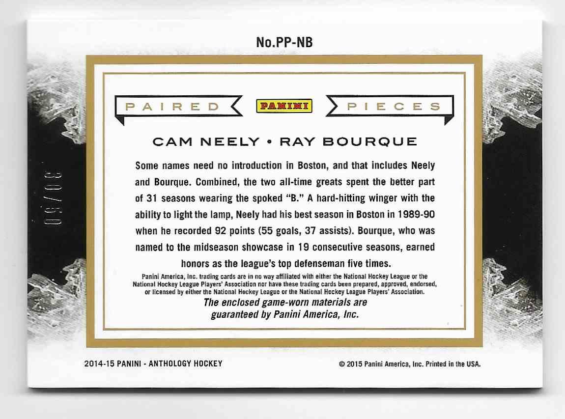 2014-15 Panini Anthology Neely/Bourque #PP-NB card back image