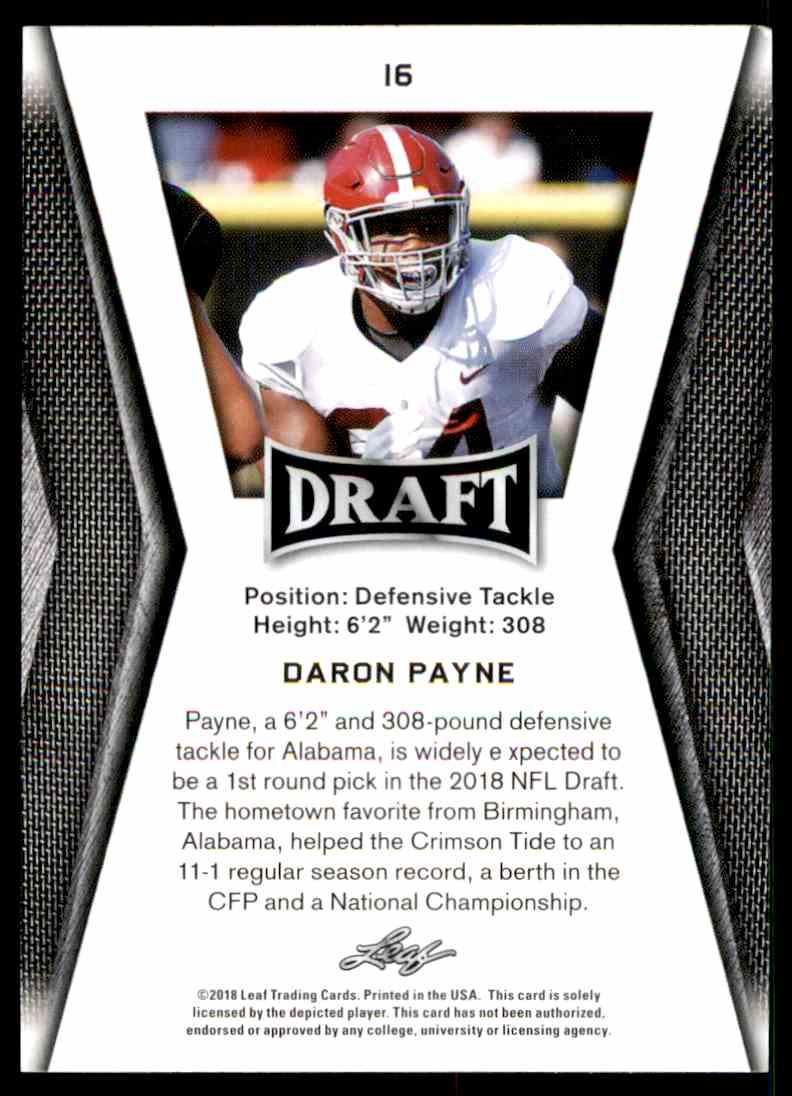 2018 Leaf Draft Daron Payne #16 card back image
