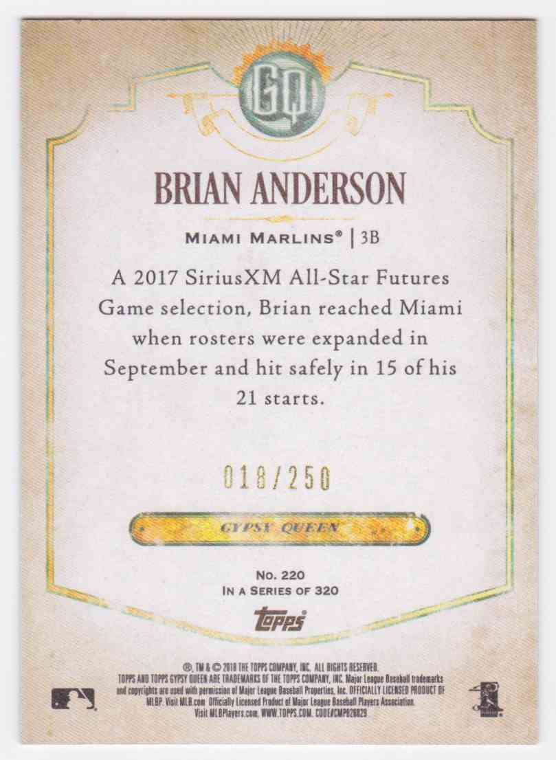2018 Topps Gypsy Queen Blue Brian Anderson #220 card back image