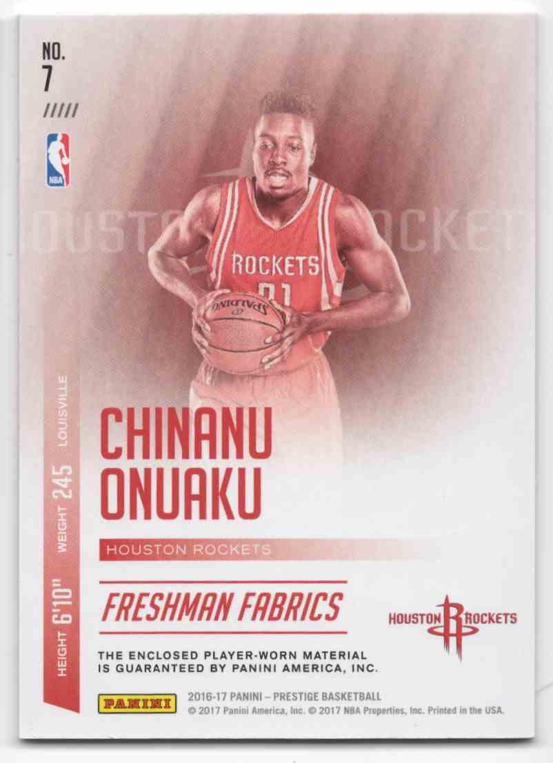 2016-17 Prestige Freshman Fabrics Jumbo Chinanu Onuaku #7 card back image