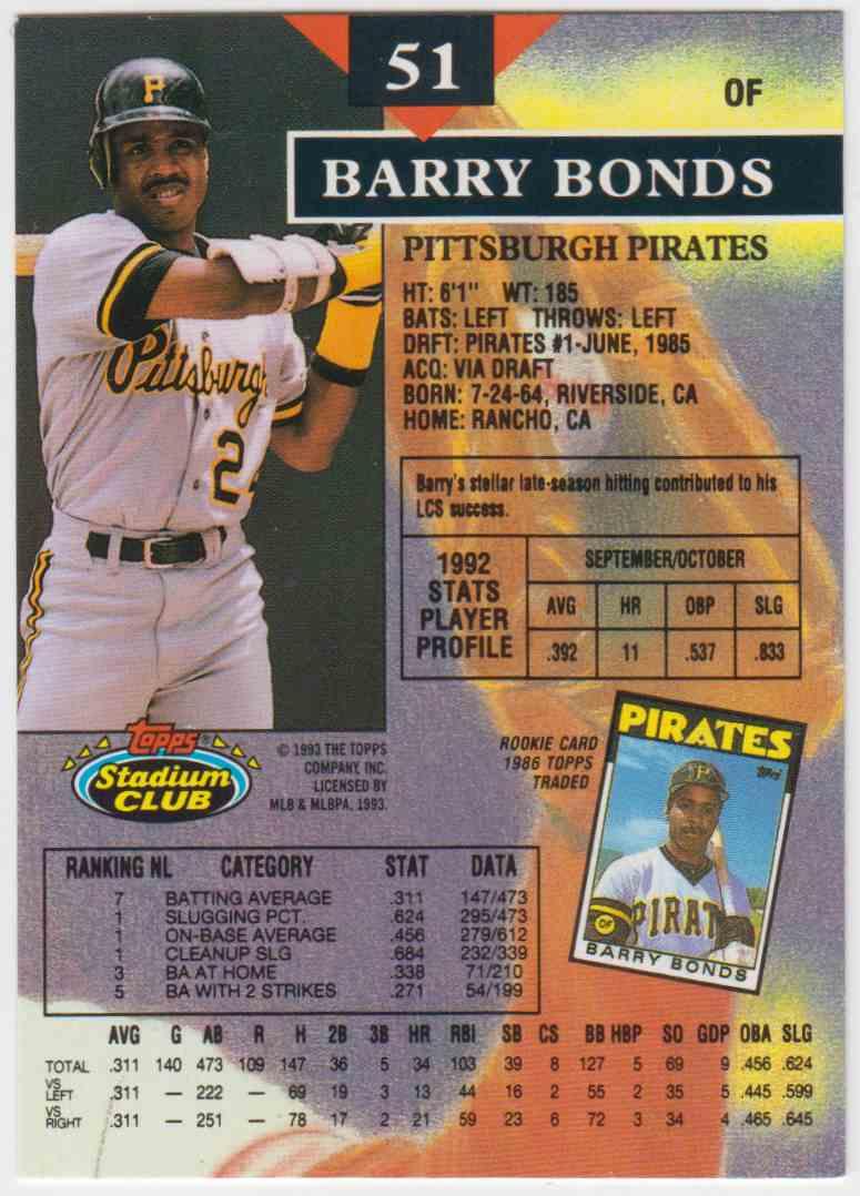 1993 Topps Stadium Club Barry Bonds 51a On Kronozio