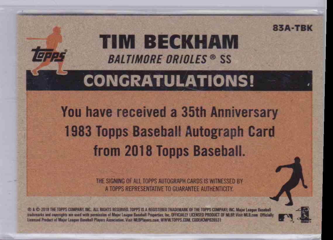 2018 Topps 35th Anniversary 1983 Topps Autograph Tim Beckham #83A-TBK card back image